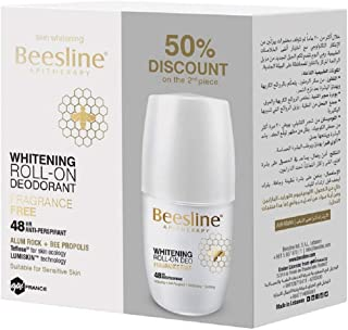 Beesline Fragrance Free Whitening Roll On Deodorant, 2 X 50 ml - Pack of 1