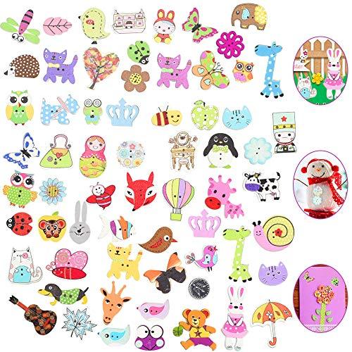 RMENOOR 100 Stück Holzknöpfe Bunt Knöpfe Gemischte Größen Babyknöpfe Tiermotiven Bastelknöpfe Puppenknöpfe mit 2 Löcher Tierknöpfe zum Basteln, Nähen, Handwerk, Malerei, DIY Basteln, Deko