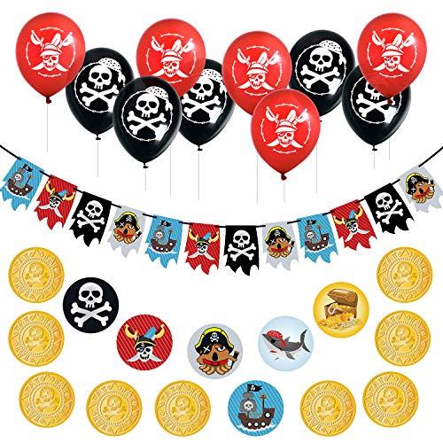 Oblique Unique® Set de decoración para fiestas de cumpleaños infantiles, guirnalda pirata, globos de calavera, confeti pirata