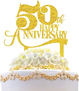 Palksky Gold Glitter Happy 50th Anniversary Cake Topper/50 Years Blessed Cake Pick for 50th Vow Renewal Wedding Anniversary Birthday Party Decoration Supply
