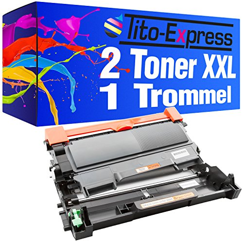 Tito-Express Platinum Serie 2 Toners & 1 Trommel XXL compatibel met Brother TN-2010 & DR-2220 HL-2130 HL-2132 HL-2135W DCP-7055 DCP-7055W DCP-7057 | Toner 3.000 pagina's Trommel 12.000 pagina's