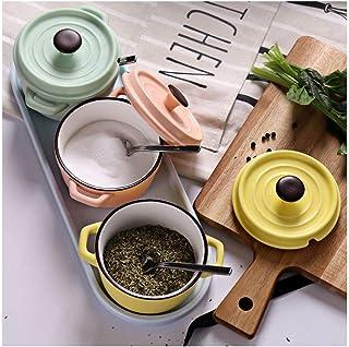 Olla de condimento de cerámica de alto valor, caja de salero de condimento, olla de condimento para el hogar, suministros de cocina-Verde