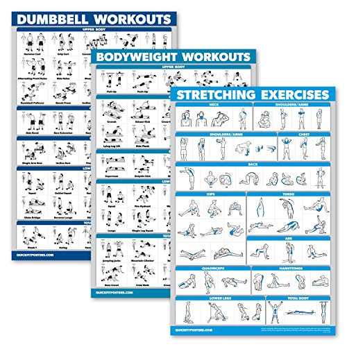 """QuickFit 3 Pack - Dumbbell Workouts + Bodyweight Exercises + Stretching Routine Poster Set - Set of 3 Workout Charts (Laminated, 18"""" x 27"""")"""