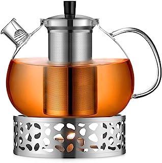 ecooe Oryginalny dzbanek do herbaty o pojemności 2000 ml, ze szkła borokrzemowego, zaparzacz do herbaty z podgrzewaczem ze...