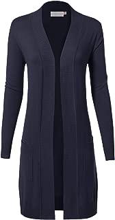 MAYSIX APPAREL Long Sleeve Long Line Knit Sweater Open Front Cardigan W/Pocket Women (S-XL) Black