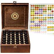 Beautiful Essential Oil Storage Box 36 Bottle - Holds 5-15ml &10ml Roller Bottles - Free Roller Bottle Opener & 192 Essential Oil Labels (Brown)