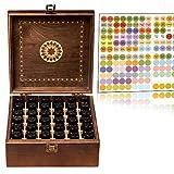 Beautiful Essential Oil Storage Organizer Box 36 Bottle - Holds 5-15ml &10ml Roller Bottles - Free Roller Bottle Opener & 192 EO Labels - Wooden Oil Case Holder