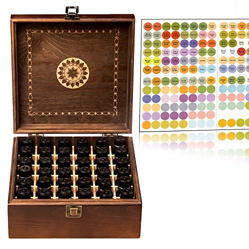 Beautiful Essential Oil Storage Organizer Box 36 Bottle - Holds 5-15ml &10ml Roller Bottles - Free Roller Bottle Opener & 192 EO Labels - Wooden Oil Case Holder
