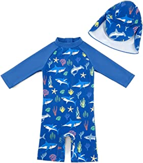 Baby/Toddler One Piece Zip Sunsuits with Sun Hat UPF 50+...