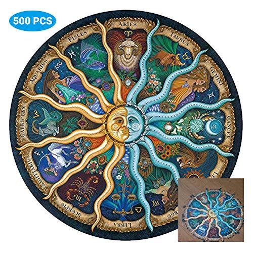 500 Piezas de Rompecabezas para Adultos Rompecabezas Redondos Zodiac Floor Puzzle Niños Juguetes de Bricolaje para Regalo Creativo Decoración para el hogar - Doce Constelaciones