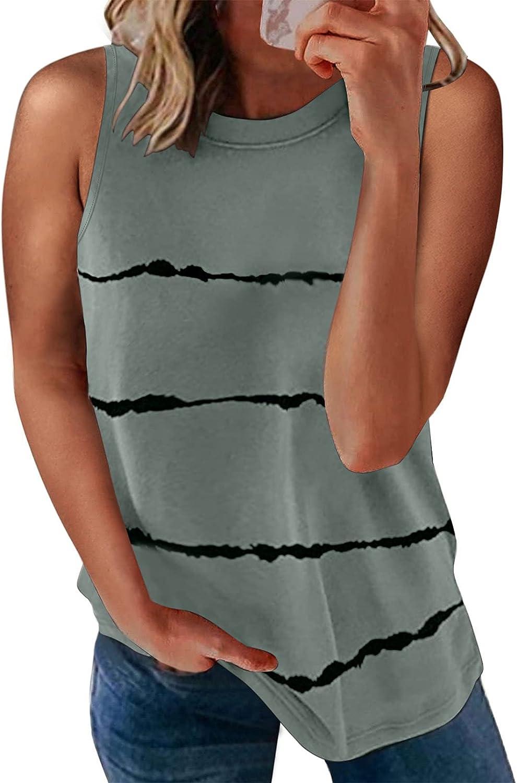 Ecrocoo Women's Casual Color Block Crewneck Tank Tops Sleeveless Loose Summer Shirts Blouse Tunic