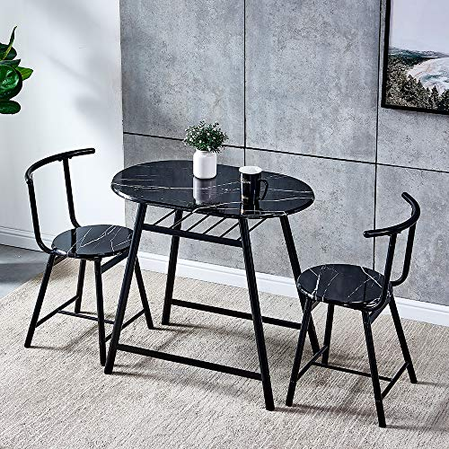 QIHANG-UK 3-Piece Small Dining Table Set for Indoor Outdoor, Wood Kitchen Table with 2 Dinner Chairs for Living Room Garden Backyard Tea-time, Marble Look Oval Dinette Set with Metal Legs, Black