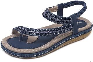 Women's Bohemian Sandal Elastic Back Strap Clip Toe Flats Sandals