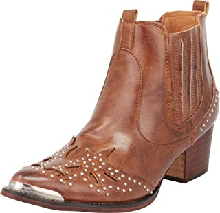 Women's Western Pointed Toe Crystal Rhinestone Stacked Chunky Heel Ankle Cowboy Boot
