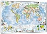 XXL-Poster: Politische Weltkarte mit 4 Nebenkarten, 205x144