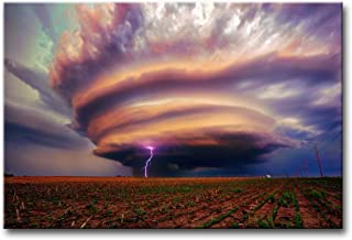 So Crazy Art Wall Art Painting Lightning in A Tornado Field Prints On Canvas The Picture Landscape Pictures Oil for Home Modern Decoration Print Decor for Kitchen