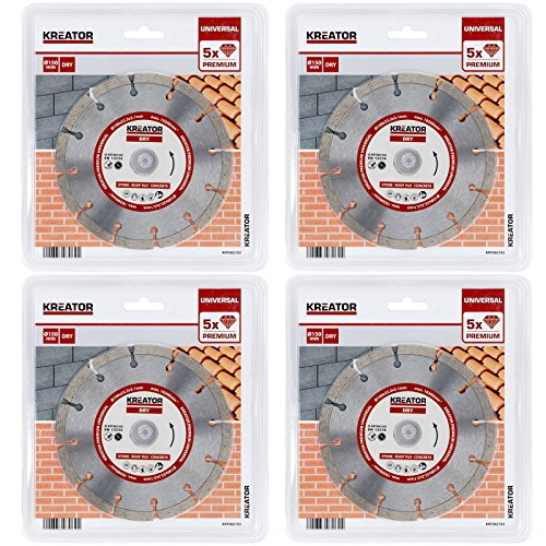 150 mm Diamant Trennscheibe segmentiert für Mauernutfräse Trockenschnitt - 4er Set Mauerfräsen-Sägeblätter