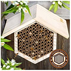NATURAL, DURABLE CONSTRUCTION: Made from environmentally friendly, sustainable, pine materials. SECURE PLACEMENT: Developed with two mounting hooks (fixings not included). REPLACEABLE NESTING TUBE: We have designed perfect nesting tubes, to maximize ...