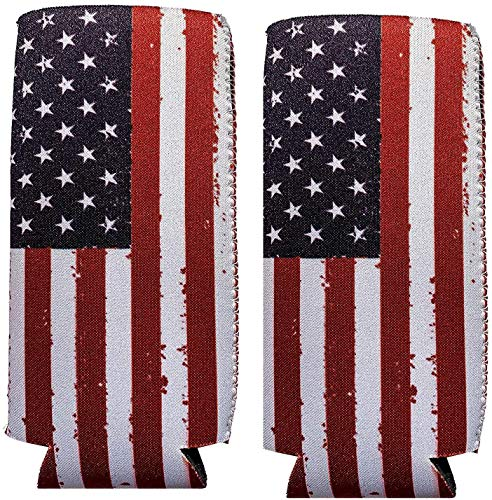Slim Can Cooler, 12oz Slim cans, Michelob Ultra, Red Bull, White Claw (American Flag)