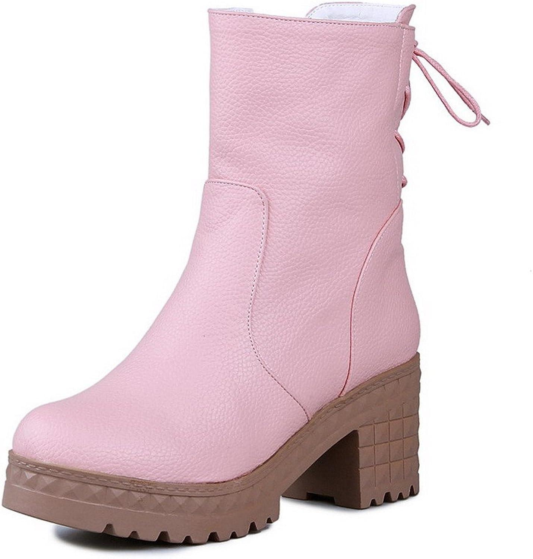 WeenFashion Women's Solid Kitten Heels Round Closed Toe Zipper Boots