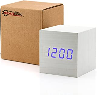GEARONIC TM Wooden Alarm Clock, LED Square Cube Digital Alarm Thermometer Timer Calendar Updated 2016 Brighter LED - White