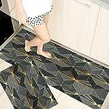 Alfombrillas de Cocina geométricas, alfombras de Puerta de Entrada de balcón de Sala de Estar de Dormitorio Impresas Modernas, alfombras Antideslizantes de baño A11 60x90cm + 60x180cm
