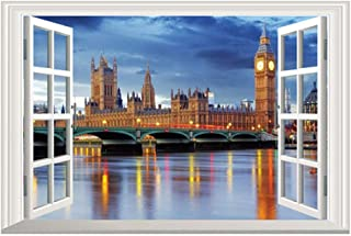 24 inches x 16 inches 3D Full Colour High Definition London Big Ben Clock City Night False Faux Window Frame Window Mural ...