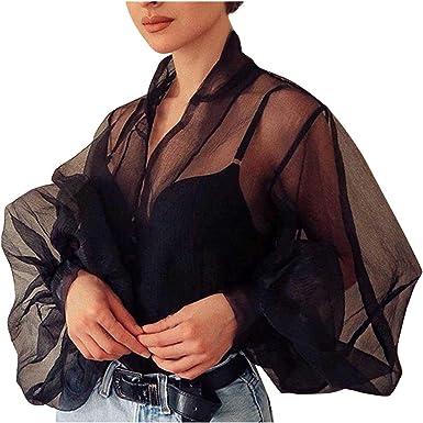 Shenye Blusa de mujer transparente manga larga de burbujas ...