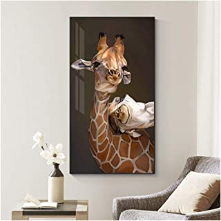 HYFBH Abstract Mother's Love Painting Maternal Love Big Cute Animal Poster and Print HD Abstract Wall Pictures for Living-60x90cm con Marco
