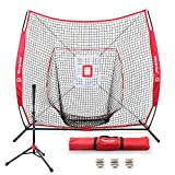 7'×7' Baseball Softball Practice Net Hitting Nets | Hitting, Pitching, Batting, Catching, Fielding | with Batting Tee, 3 Training Balls, Strike Zone Target, Carry Bag | Training Equipment Bundle