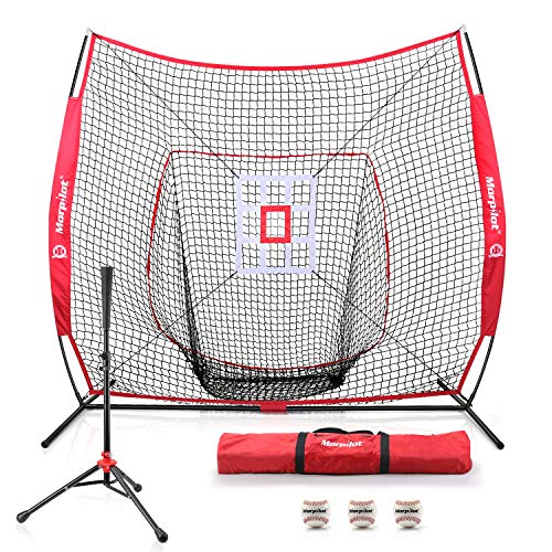 7'×7' Baseball Softball Practice Net Hitting Nets | Hitting, Pitching, Batting, Catching, Fielding | with Batting Tee, 3 Training Balls, Strike Zone Target, Carry Bag | Training Equipment Bundle
