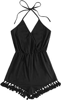 SheIn Women's V-Neck Sleeveless Wrap Halter Romper Tassel Elastic Waist Jumpsuit