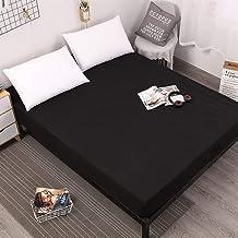 AUXCHENGFCAU Solid Color Mattress Cover, Elastic White/Black Waterproof Mattress Cover Pad Sheet Cover (Color : Black, Siz...