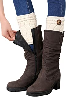 Dubocu Women's Winter Twisted Buckle Brief Paragraph Leg Warmers Sock Boot Cover