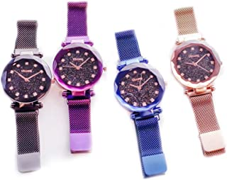 OULAIELF Women Ladies Girls 4 Pack Wholesale Assorted Alloy Strap Wrist Watch New Starry Sky Quartz Magnetic Mesh Band Watch