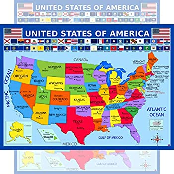 United States Map with State Flags Poster - Laminated Educational Poster  14x19.5 in  - USA Map for Kids Elementary Classroom Decorations Homeschool and Teacher Supplies