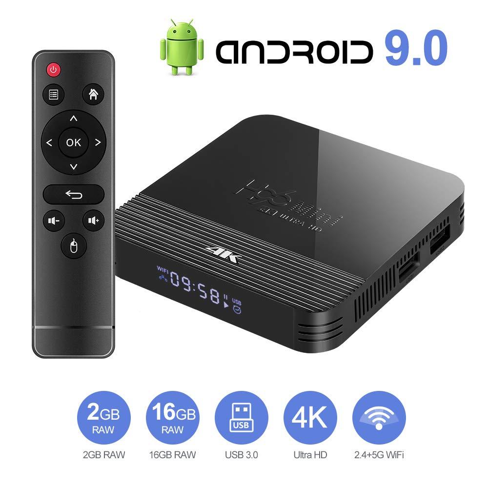Byttron Android 9.0 TV Box Smart Media Box 2GB RAM 16GB ROM RK3228A Quad Core Bluetooth 4.0 WiFi 2.4G /& 5G Ethernet 2USB Set Top Box Support 4K Ultra HD Internet Video Player