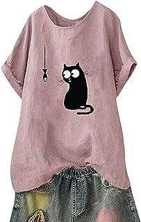 Loyomobak Womens Loose Crew Neck Cat Printing Short Sleeve Plus Size T-Shirt Top Blouse