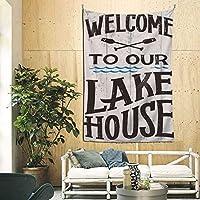 タペストリー 私たちの湖の家へようこそ 毛布 壁飾り おしゃれ 多機能 装飾用品 ビーチタオル ピクニックテーブルカバー 家 リビングルーム ベッドルーム 部屋 新築祝い 結婚祝い プレゼン 90x60inch/228x150cm