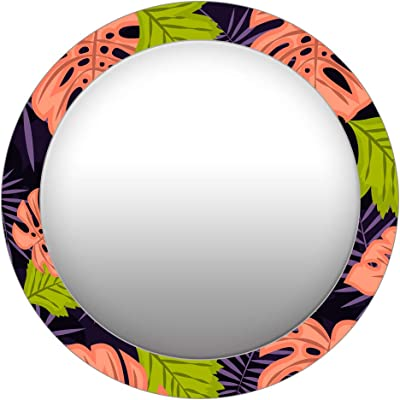 999Store Printed Green and red Leaves Pattern Round Mirror (MDF_17X17 Inch_Multi)