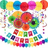 Whaline 28Pcs Colorful Birthday Decorations, Fiesta Hanging Paper Fans,Hanging Swirl,Polka Dot String,Pom Poms Flowers,Happy Birthday Banner,Paper Garland for Birthday Wedding Decor Mexican Party