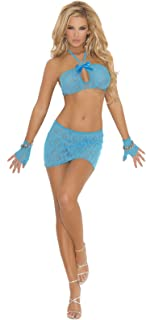 Elegant Moments Women's Lace Cami Top, Mini Skirt and Gloves