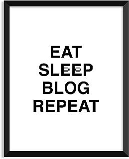 Eat Sleep Blog Repeat - Unframed art print poster or greeting card