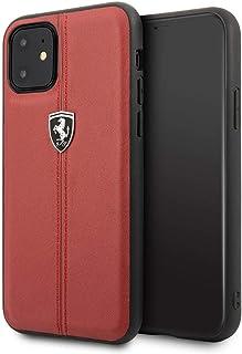 Ferrari Vertical Stripe Leather Hard Case for iPhone 11 - Red