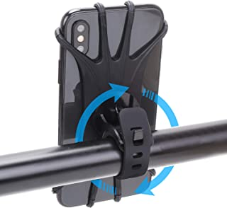 "Bike Phone Mount, 360°Rotation Removable Silicone Bicycle Phone Holder, Universal Motorcycle Handlebar Mount Fits iPhone Xs Max/XS XR X/6S/7/8 Plus, Galaxy S10+/S10/S10e/S9+/S9/S8, 4.0""~6.5"" (Black)"