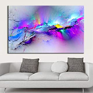 Creazy Framed Modern Multicoloured Blue Canvas Wall Abstract Art Picture Large Print (L)