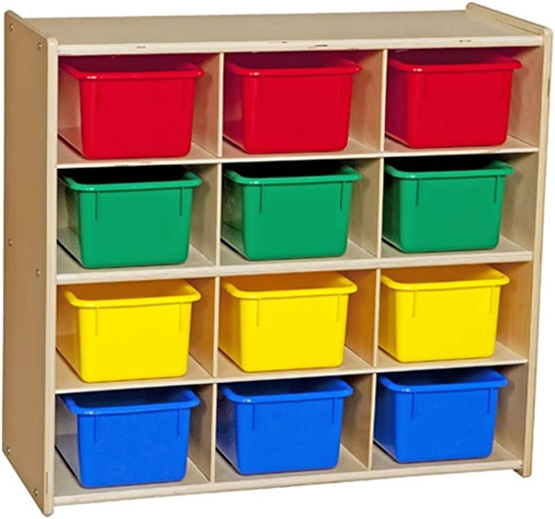 Contender C16123 Baltic Birch 12 Cubby Storage Unit With Colorful Tubs RTA Pack Of 12