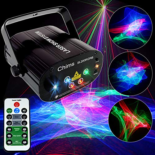 Chims DJ Laser Lights Projector Red Green Blue Aurora Laser with Blue Led Background Lights Decoration Lighting System for Family Party DJ Music Show Disco Club Bar Christmas (RGB Aurora)