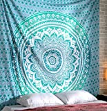 RAJRANG BRINGING RAJASTHAN TO YOU Tapices de Mandala Pared - Psychedelic Tapestry Mandala Colgar en la Pared Hippie Tapiz Wall Hanging Tapestry - Verde - 228 x 213 cm