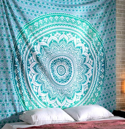 Türkisblauer Mandala Wandteppich - Hippie Königin Wandteppich Boho Bohemian Indian Wall Hanging Ombre Blumenpicknick-Stoff Strandtuch 228x213 cm